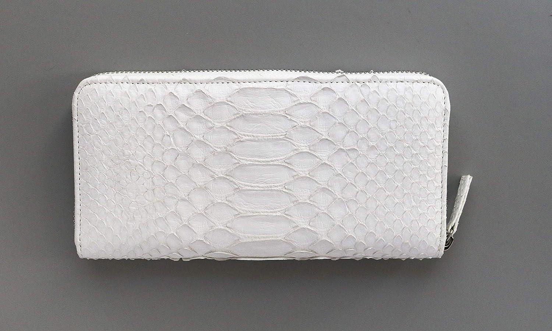 白い蛇皮ロングウォレット B07H6HQLJ4