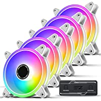 EZDIY-FAB White Moonlight 120mm RGB PWM Case Fan with RGB PWM Fan Hub,5V Motherboard Sync,ARGB Computer Fan,Multiple…