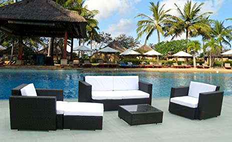 Barcelona 5 Piece Patio Furniture Outdoor Sofa Set Black Or Brown Wicker  5u0026quot; Cushion