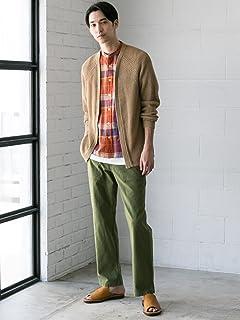 Short Sleeve Washed Madras Band Collar Shirt 3216-166-1266: Orange