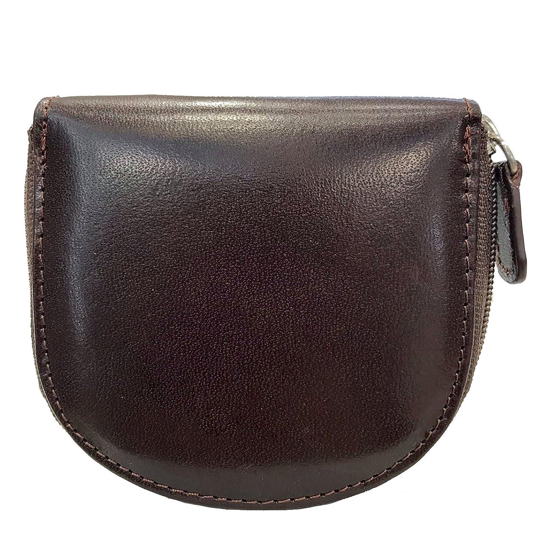 Portamonete Zip Portaspiccioli Tascabile Mini Paul.hide Uomo Donna Pelle Cuoio Marrone Scuro 8, 5 x 8 x 1, 5 cm PMONZIPTM4098