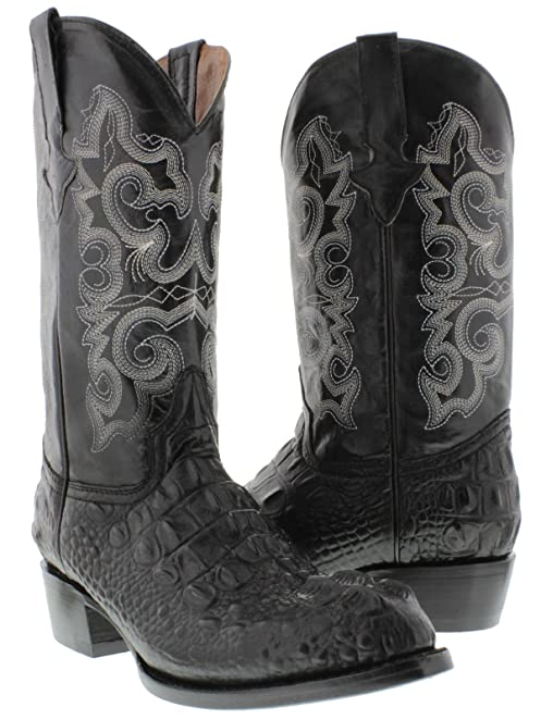 Texas Legacy - Men's Black Crocodile Hornback Print Leather Cowboy Boots Round