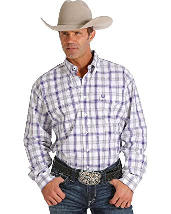 14639df16a3 Cinch Men s Purple and White Plaid Double Pocket Western Shirt White Small