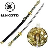 "Makoto Handmade Sharp Japanese Katana Samurai Sword 42"" Full Size Black - Detailed Dragon Head Handle"