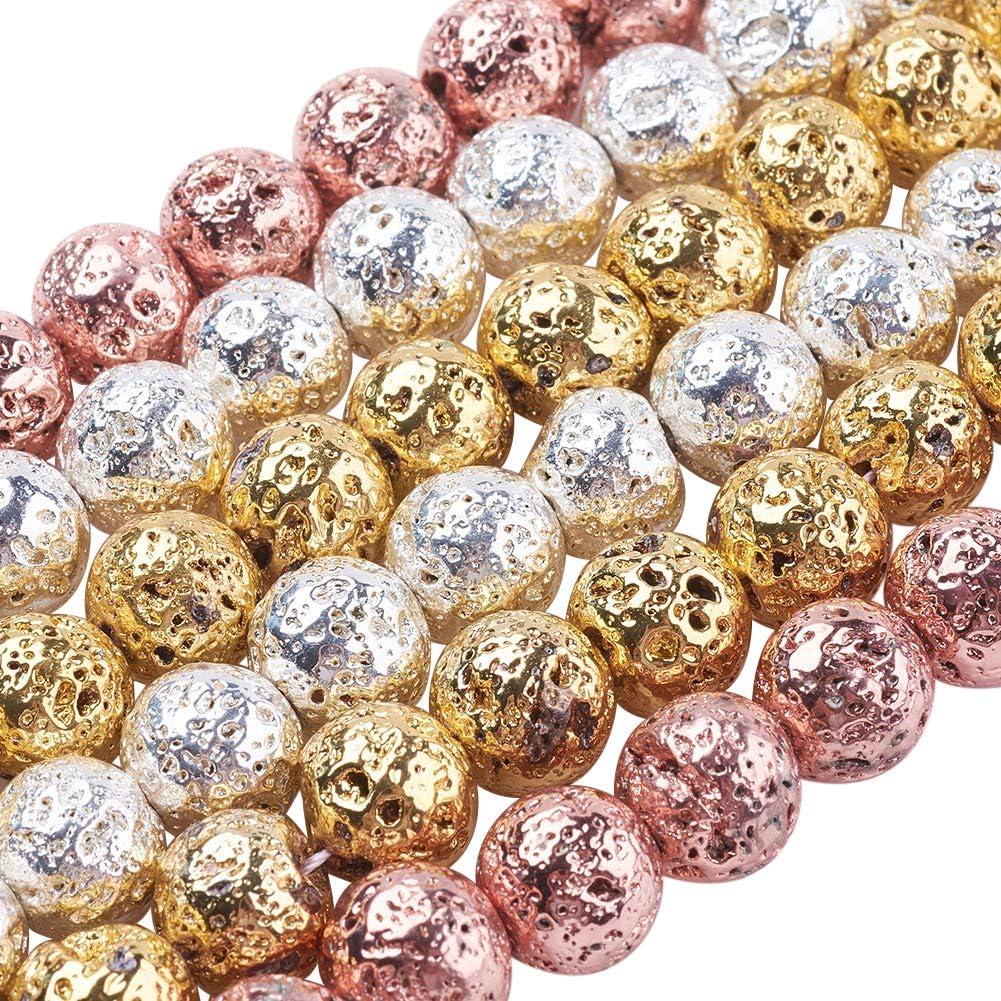 NBEADS 5 Hilos Alrededor de 39 Unids/Filamento de Lava Natural de Piedras Preciosas Perlas Redondas Granos Sueltos para la Fabricación de Joyas