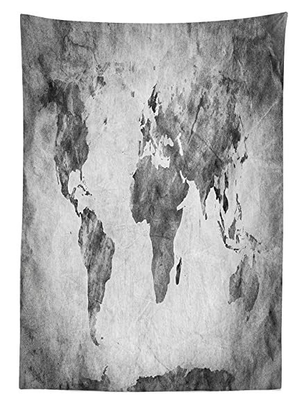 Amazoncom Wide Tap Tablecloth Vintage World Map With Dark - Black and white vintage world map