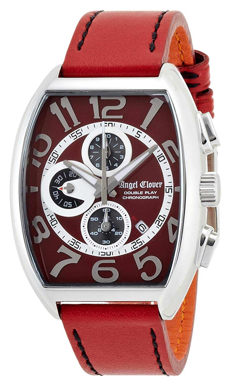 Angel Clover Herren Unisex-Uhr Double Play Red Wahlkalbsleder GÜrtel Datum Chronograph DP38SRERE