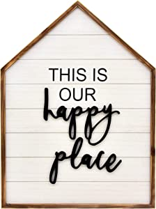 Parisloft This is Our Happy Place Wood Framed Family Sign,3D Happy Place Word Wood Wall Decor,Large Farmhouse Hanging Decor|Wall Plaque for Living Room