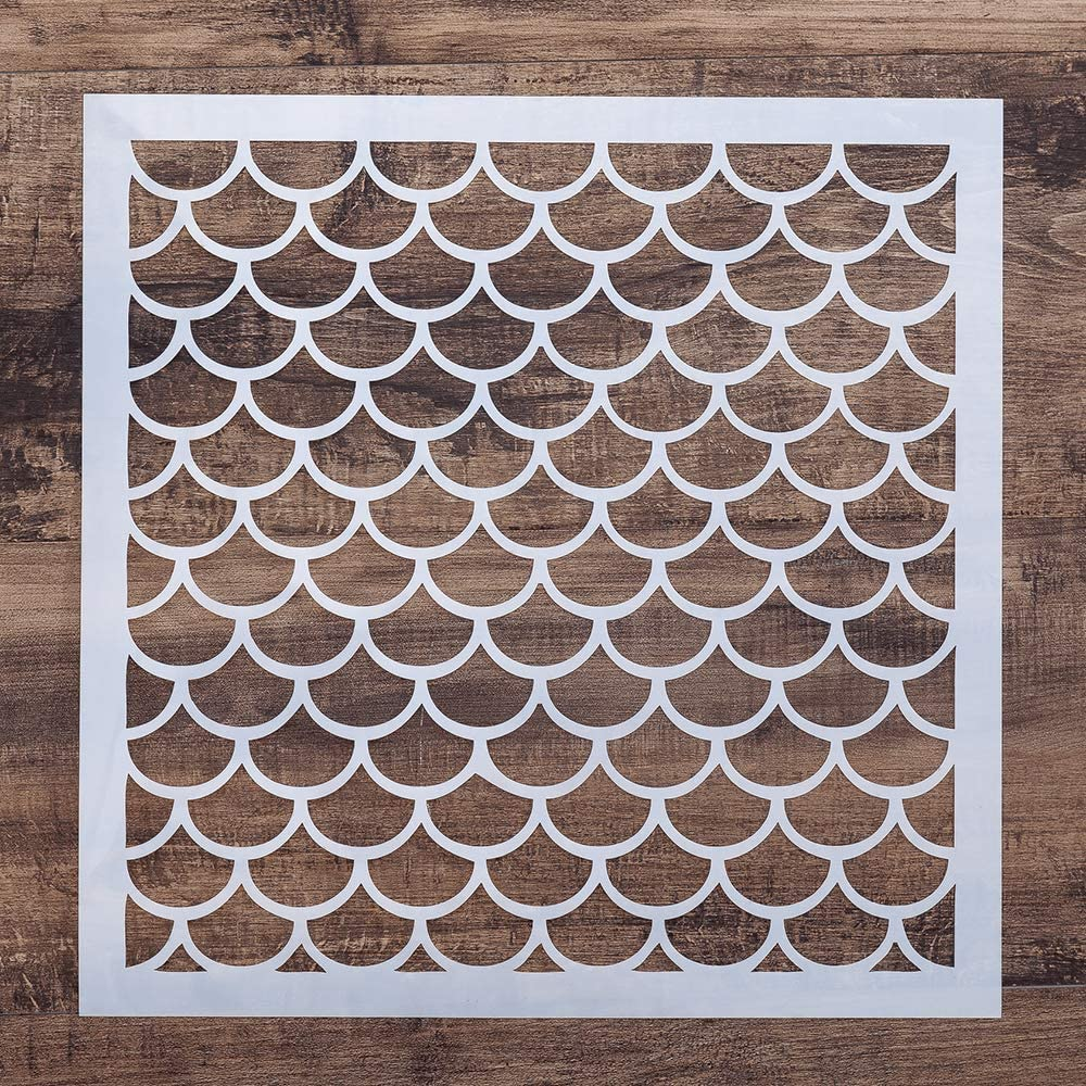 DIY Decorative Fish Scale Stencil Template for Painting on Walls Furniture Crafts (15 by 15 cm)