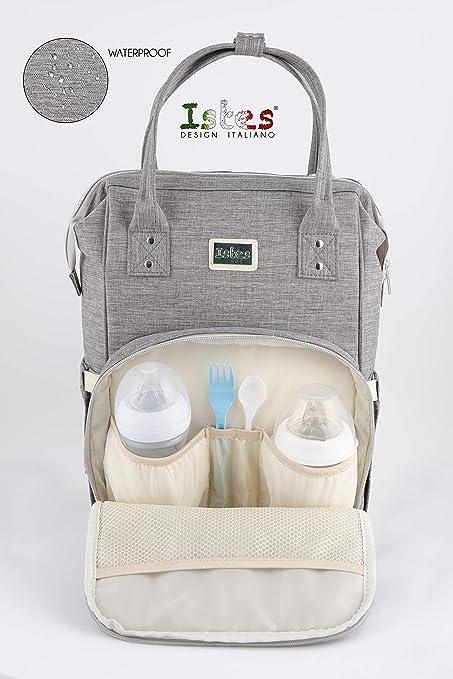 Istes ®Mamá Mochila Maternal Para Pañales Biberones | Bolso Impermeable Multifuncio-nal De Viaje Gran Capacidad | Con Cambiador Bebe Portátil Y 2 ...