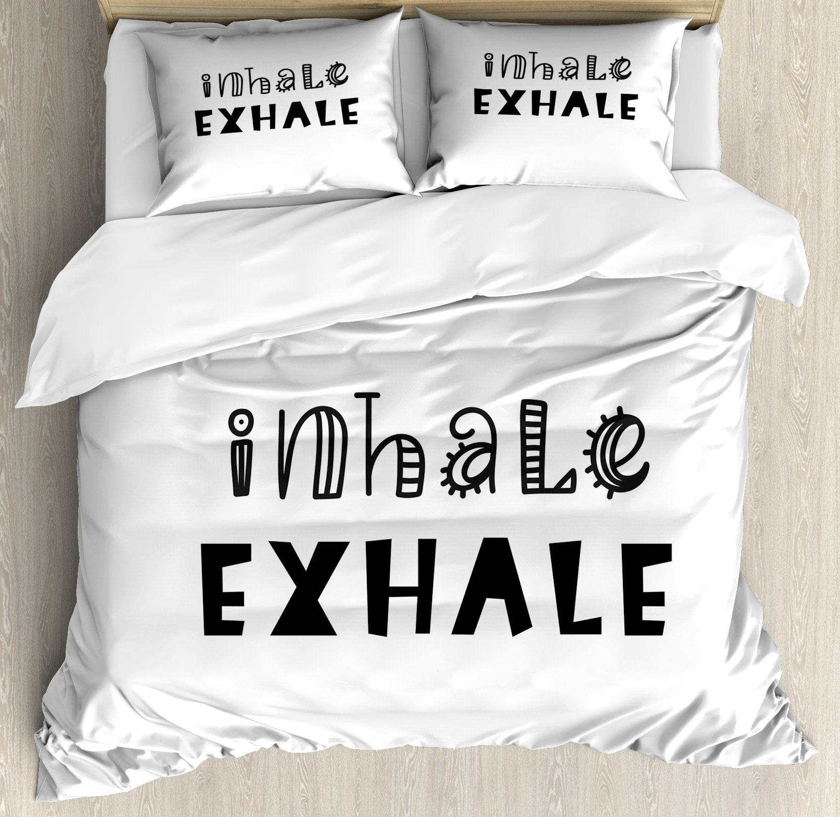 Ambesonne Inhale Exhale Queen Size Duvet Cover Set, Hippie Life Health Breath Calligraphy Balance of Life Zen Mentalcare, Decorative 3 Piece Bedding Set with 2 Pillow Shams, Black and White