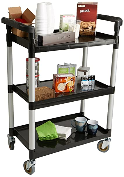 f6ea4261196e Mind Reader SCART3-BLK 3 Tier Mobile Rolling Coffee Cart, Black with Handles