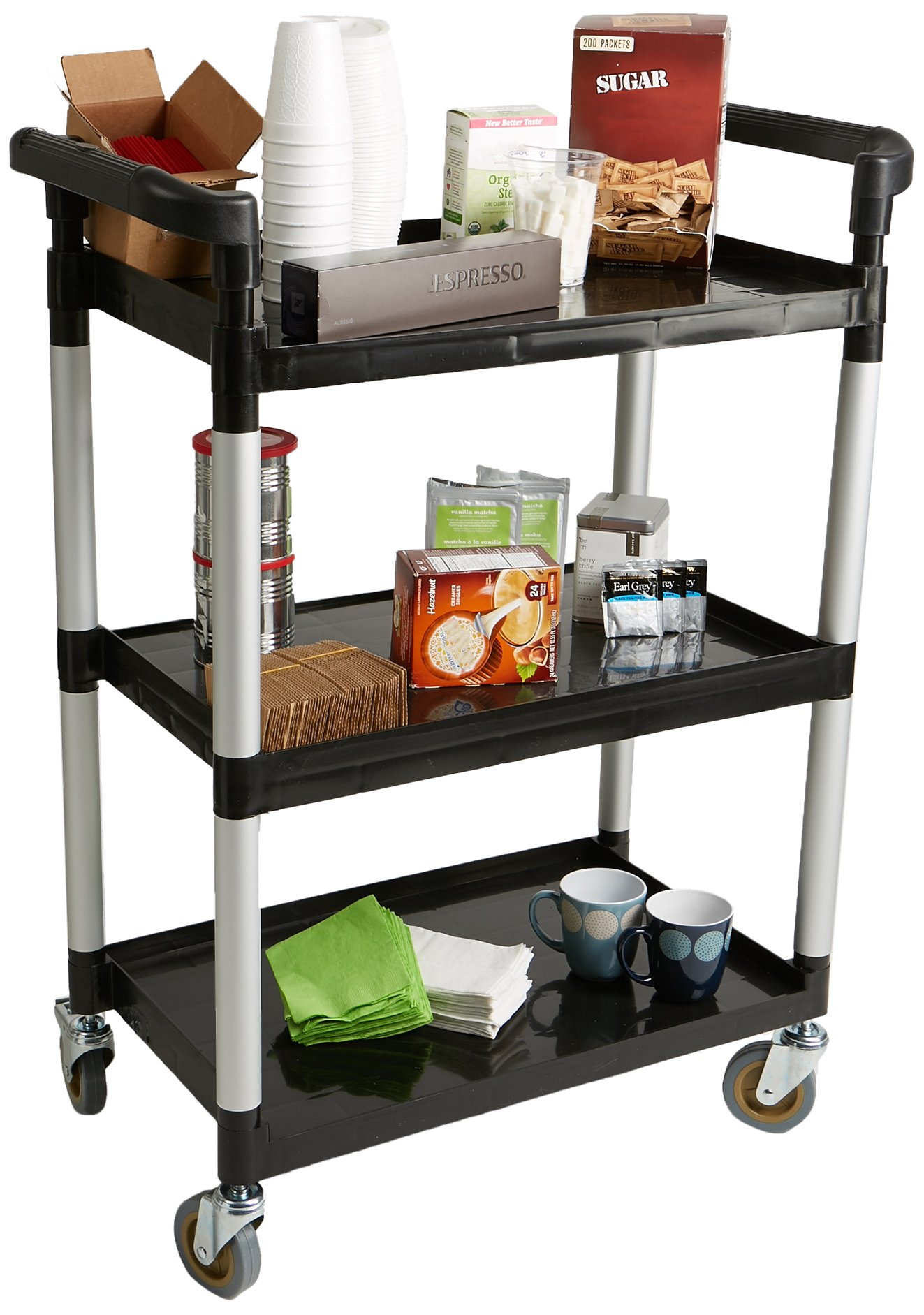 Mind Reader SCART3-BLK 3 Tier Mobile Rolling Coffee Cart, Black