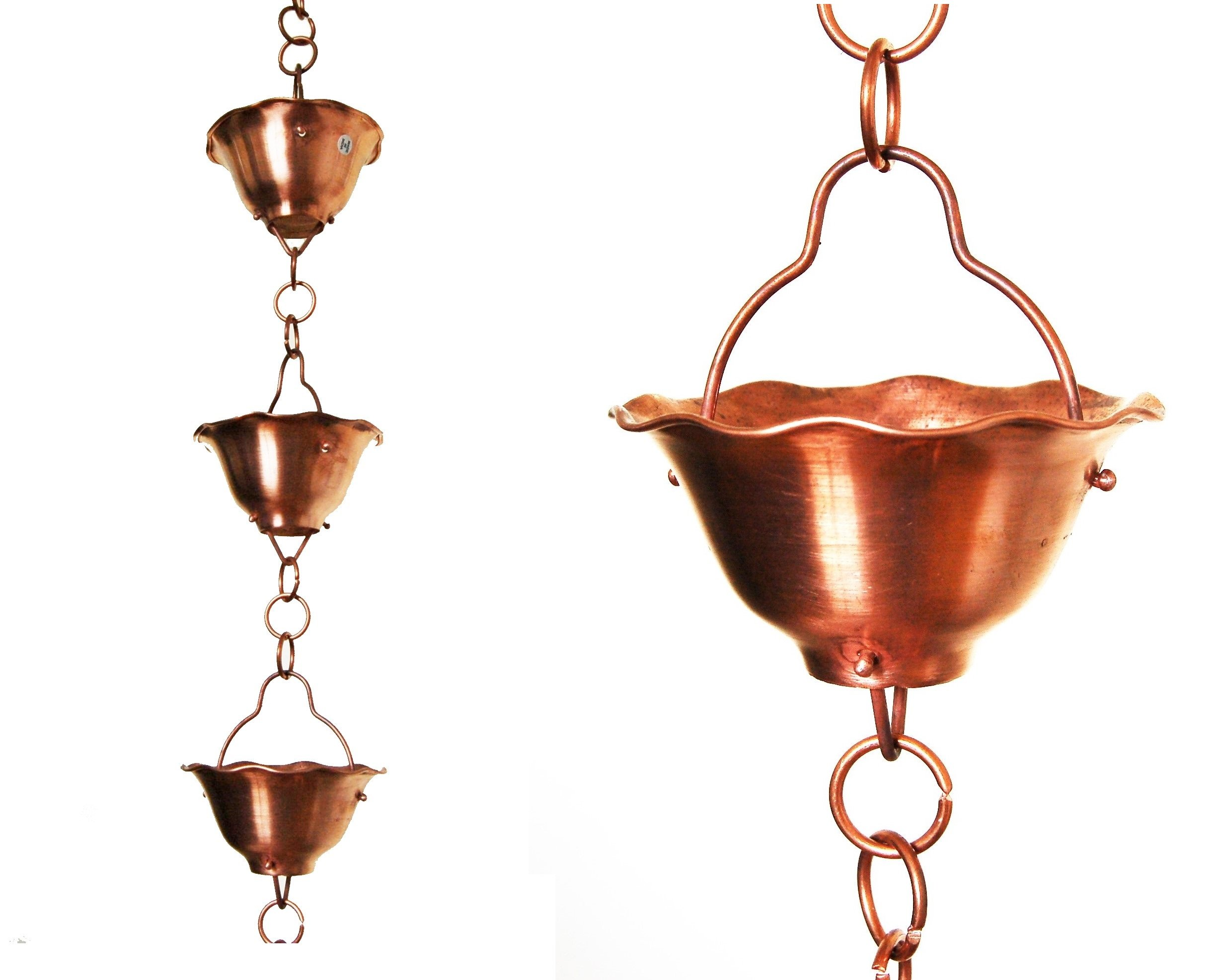 U-nitt 8-1/2 feet Pure Copper Rain Chain: Flared Bowl/Cup 8.5 ft Length #786/5513