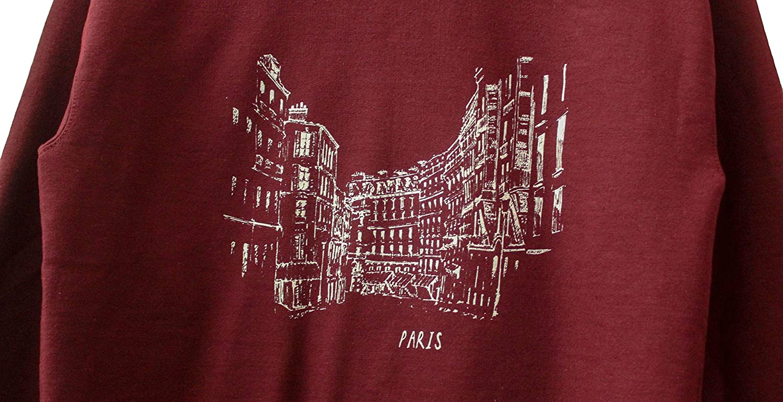 Streets of Paris Maroon Graphic Crewneck Sweatshirt