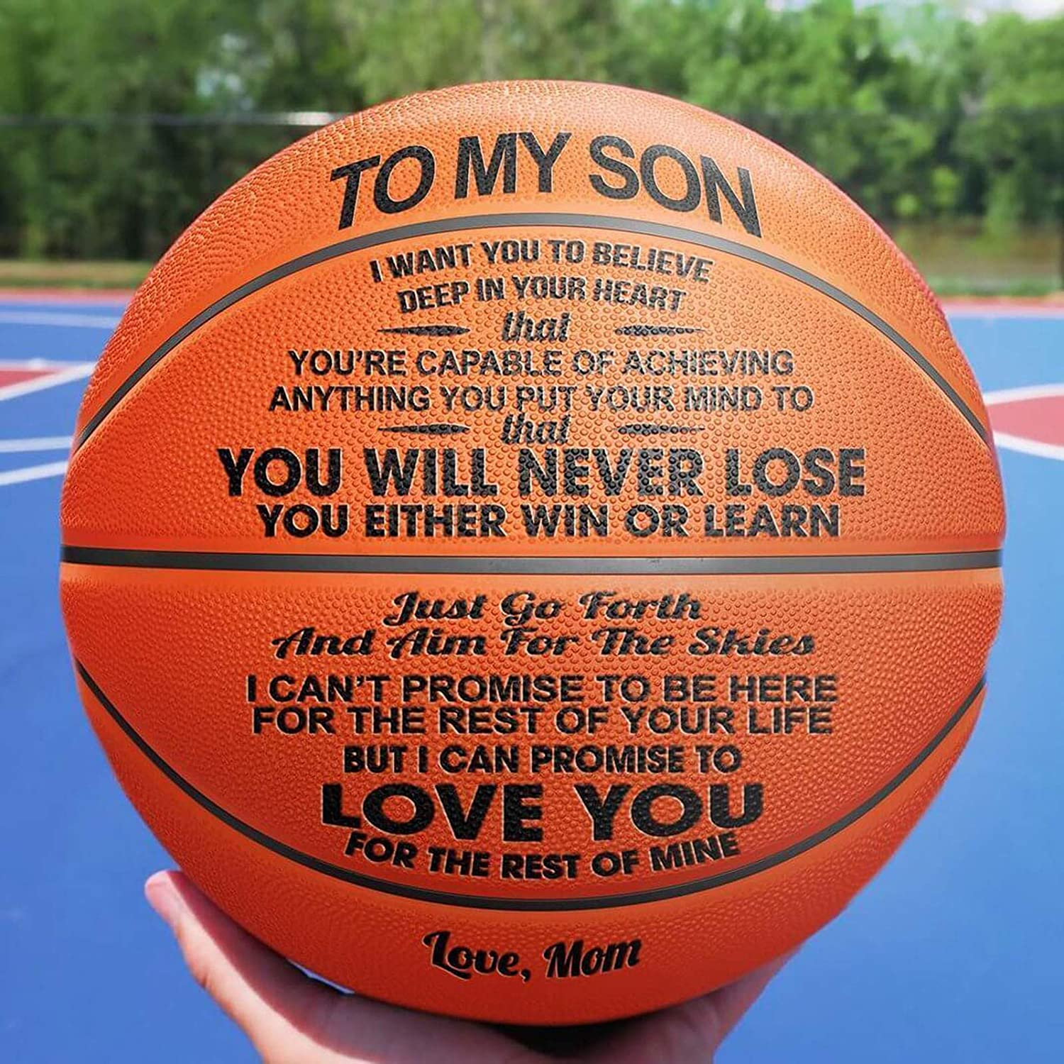 A WakeDay Engraved Basketball For Son,Personalized Special Unique Basketball Game Ball To My Son Enjoy The Ride And Never Forget Your Way Back Home For Indoor And Outdoor Use N