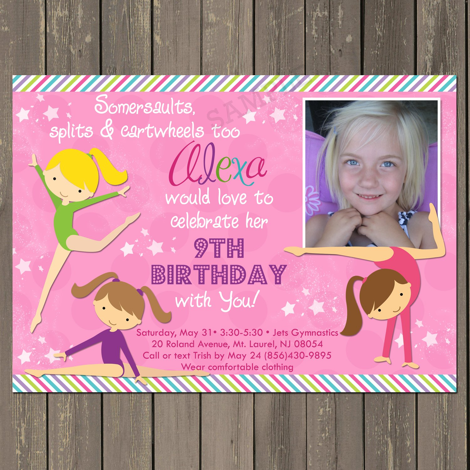 Amazon.com: Gymnastics Birthday Invitation, Girls Gymnastics Party ...