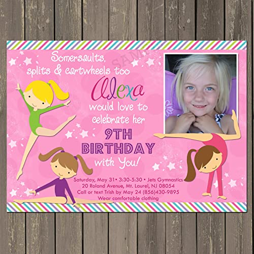Amazoncom Gymnastics Birthday Invitation Girls Gymnastics Party