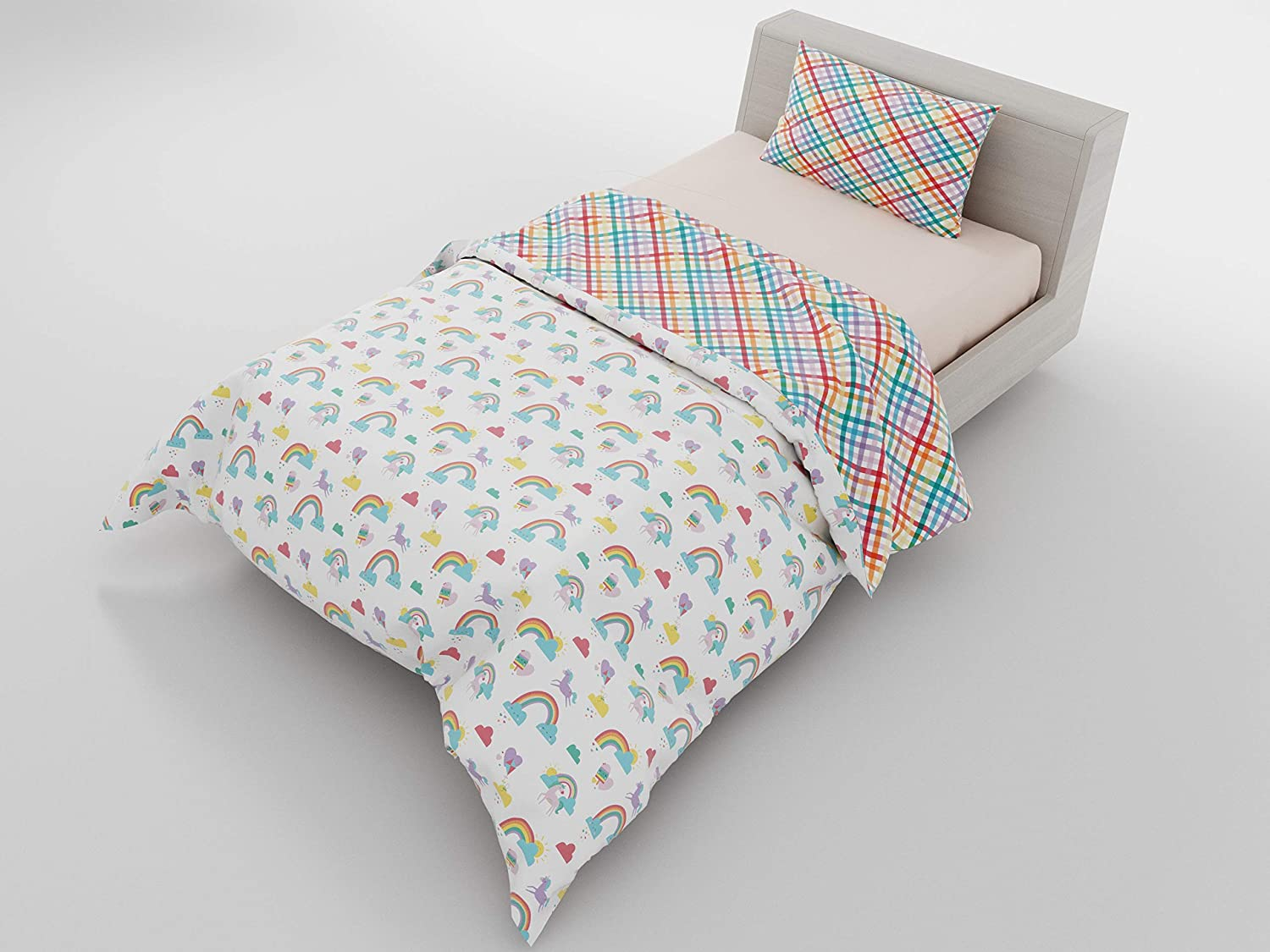 """Twin Duvet Reversible Rainbow Unicorn & Gingham - with 1 Pillowcase for Kids Bedding - Double Brushed Microfiber by Where The Polka Dots Roam (68"""" L X 86"""" W)"""