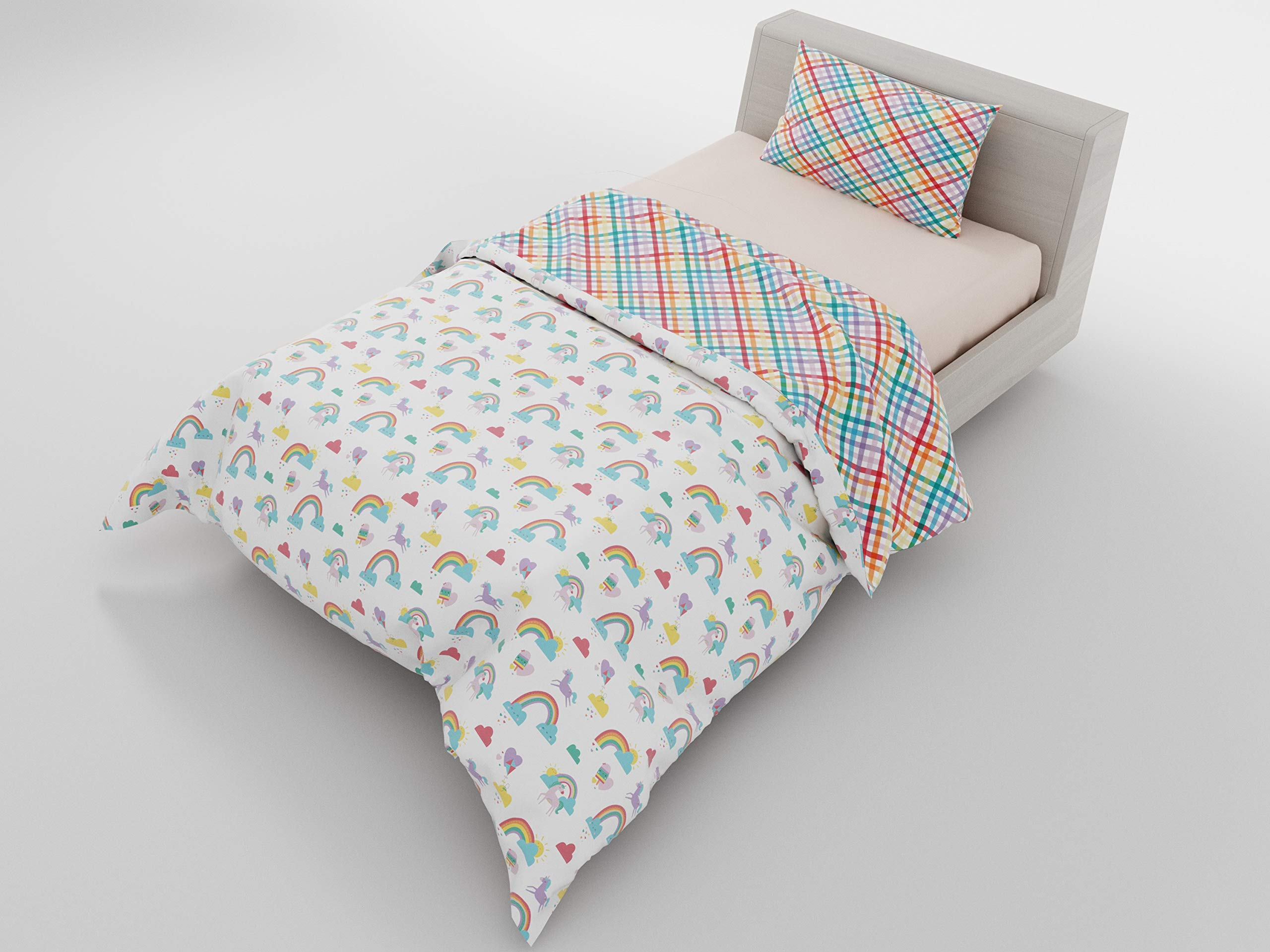 Twin Duvet Reversible Rainbow Unicorn & Gingham - with 1 Pillowcase for Kids Bedding - Double Brushed Microfiber by Where The Polka Dots Roam (68'' L X 86'' W)
