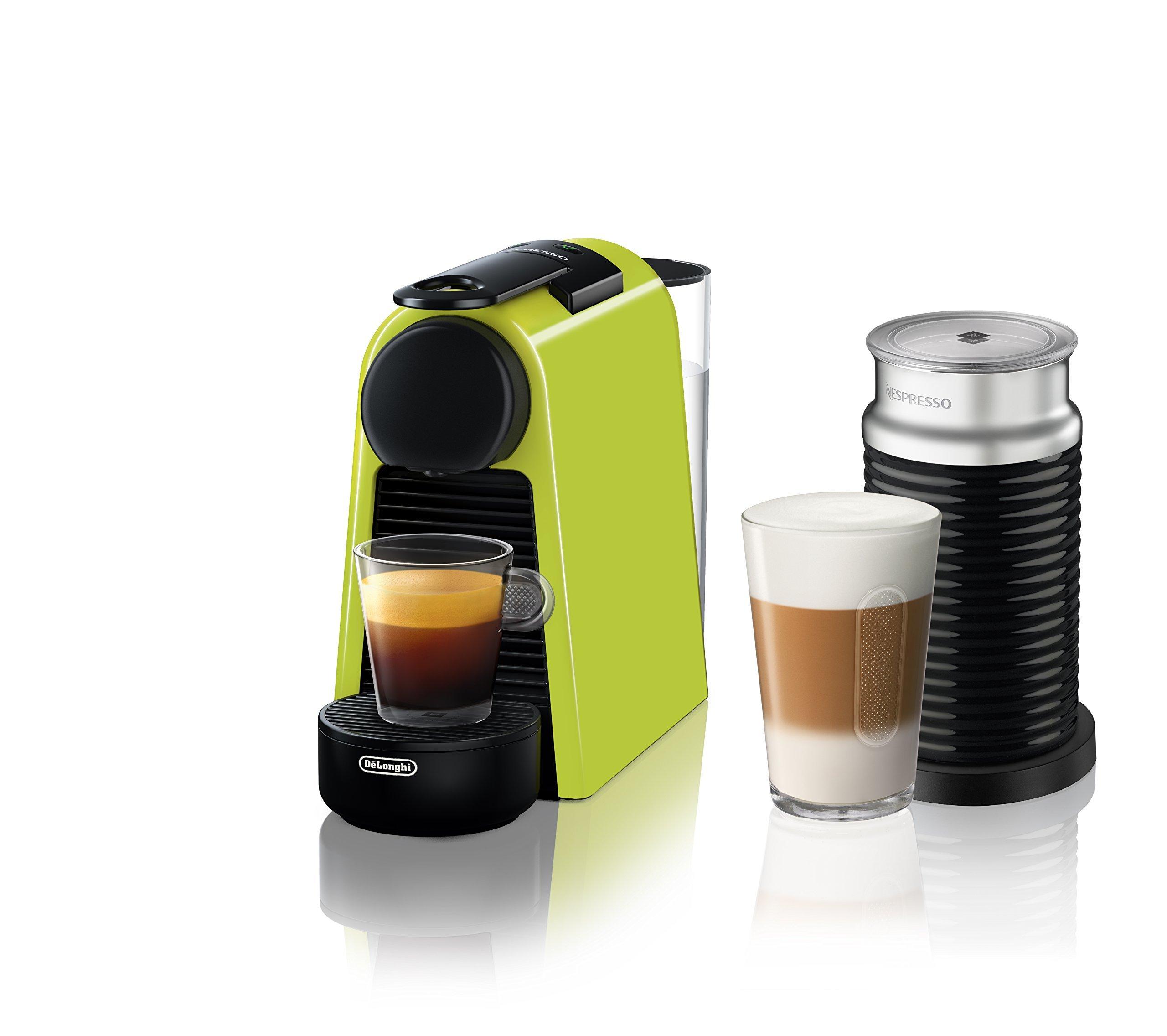 Nespresso by De'Longhi EN85LAE Essenza Mini Original Espresso Machine Bundle with Aeroccino Milk Frother by De'Longhi, Lime by Nespresso by De'Longhi
