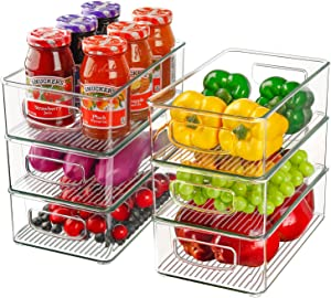 """Set of 6 Refrigerator Organizer Bins, Stackable Plastic Storage Bins with Handles, Clear Kitchen Organization and Storage for Pantry, Cabinets, Shelves, Drawer, Freezer - Food Safe, BPA Free 10.2""""L"""