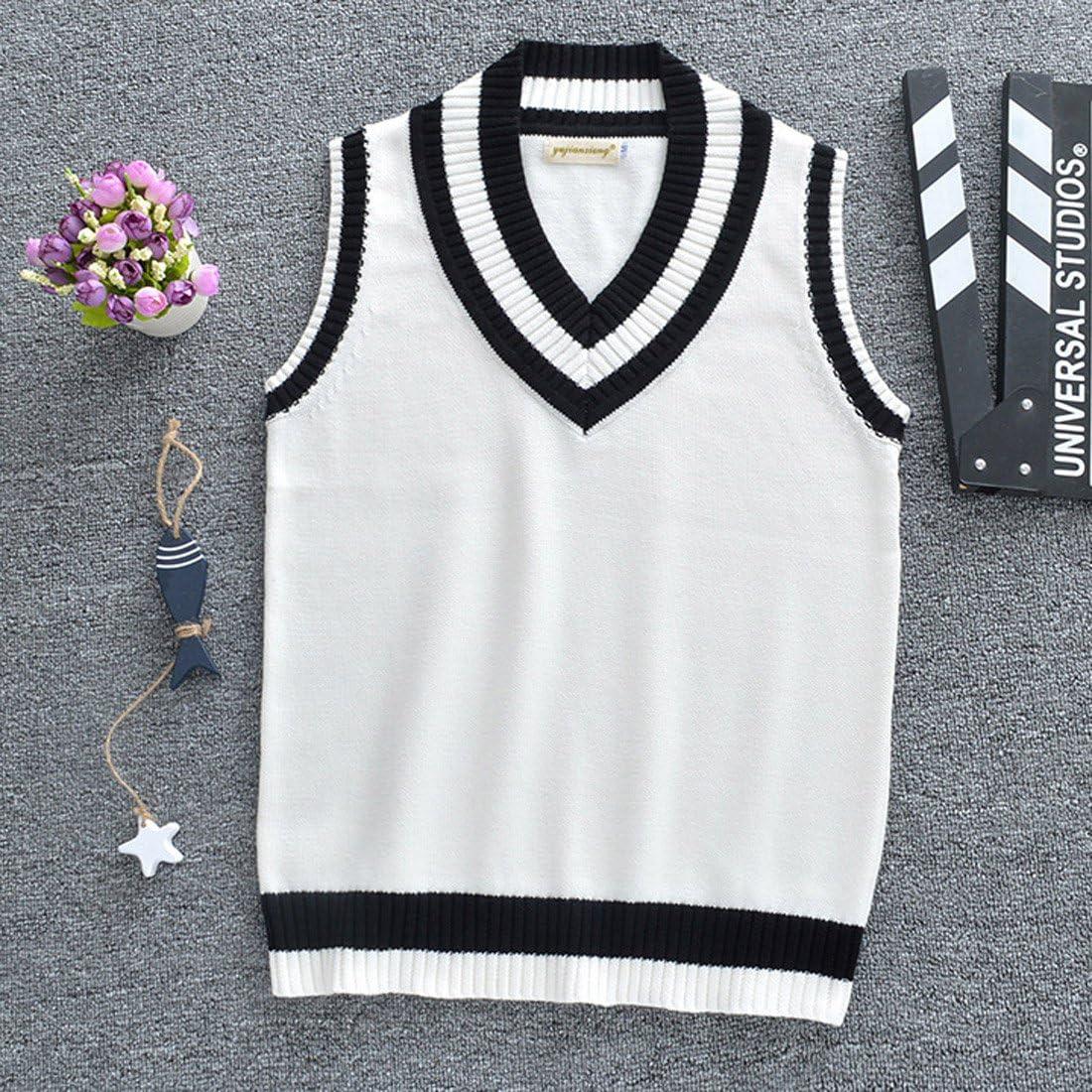 Szolno Pullover Sleeveless Sweater Cotton V-Neck Vest School Cardigan Men Women