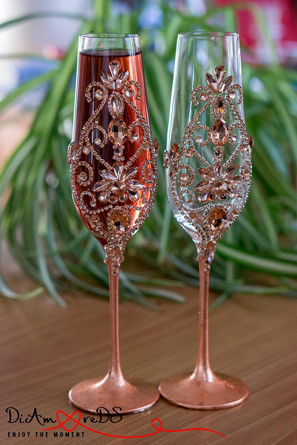 Rose Gold Wedding Glasses, Champagne Flutes, Wedding Dé cor, Personalized Wedding Flutes, Toasting Flutes Wedding Set, th Wedding Anniversary