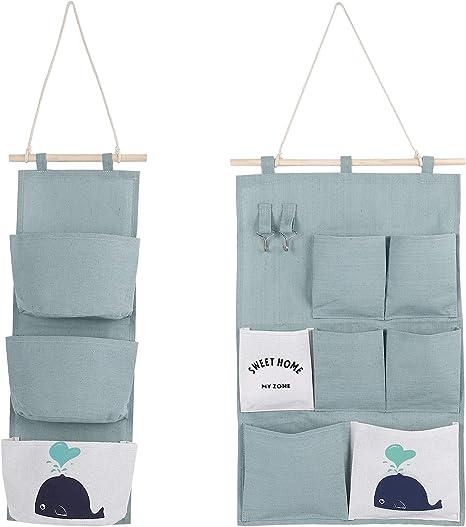 Bolsa de almacenamiento colgante Organizador algod/ón colgar armario bolsa de almacenamiento con 3 bolsillos
