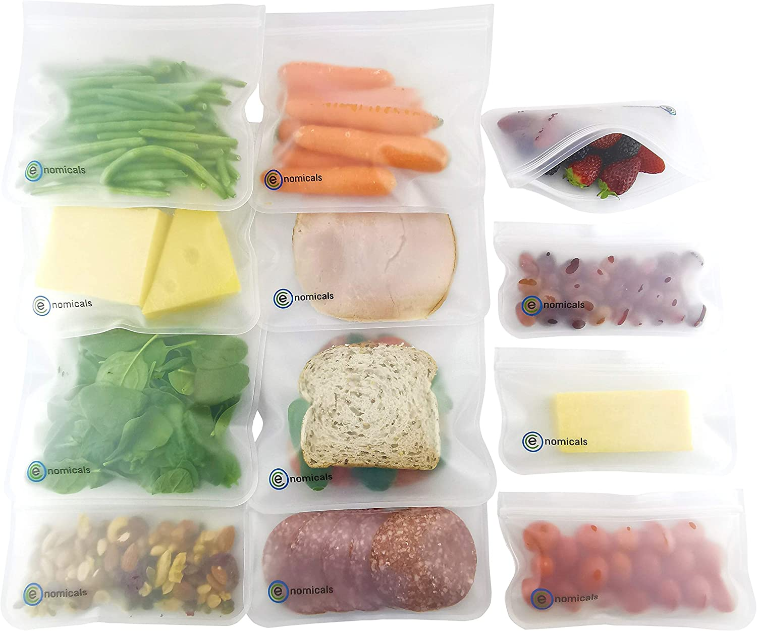 12 Pack BPA FREE Reusable Storage Bags (6 Sandwich Bags, 6 Snack Bags), Quality Extra Thick, Leakproof, Silicone and Plastic Free, Double Ziplock, Lunch Bags,Food Storage, Freezer Safe