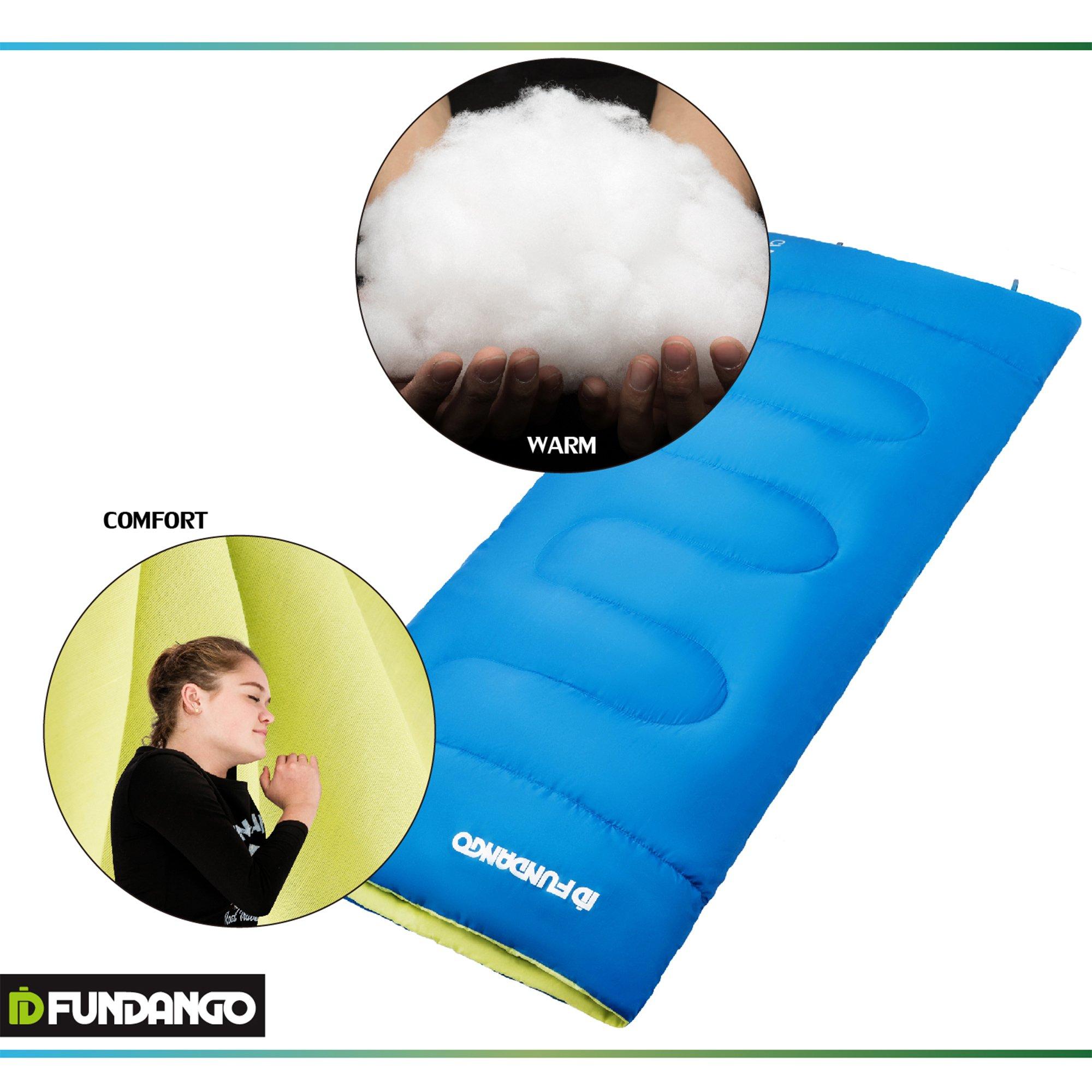 FUNDANGO Envelope Adult Sleeping Bag 37 Degree F/ 55.4 Degree F Lightweight with Compressed Sack