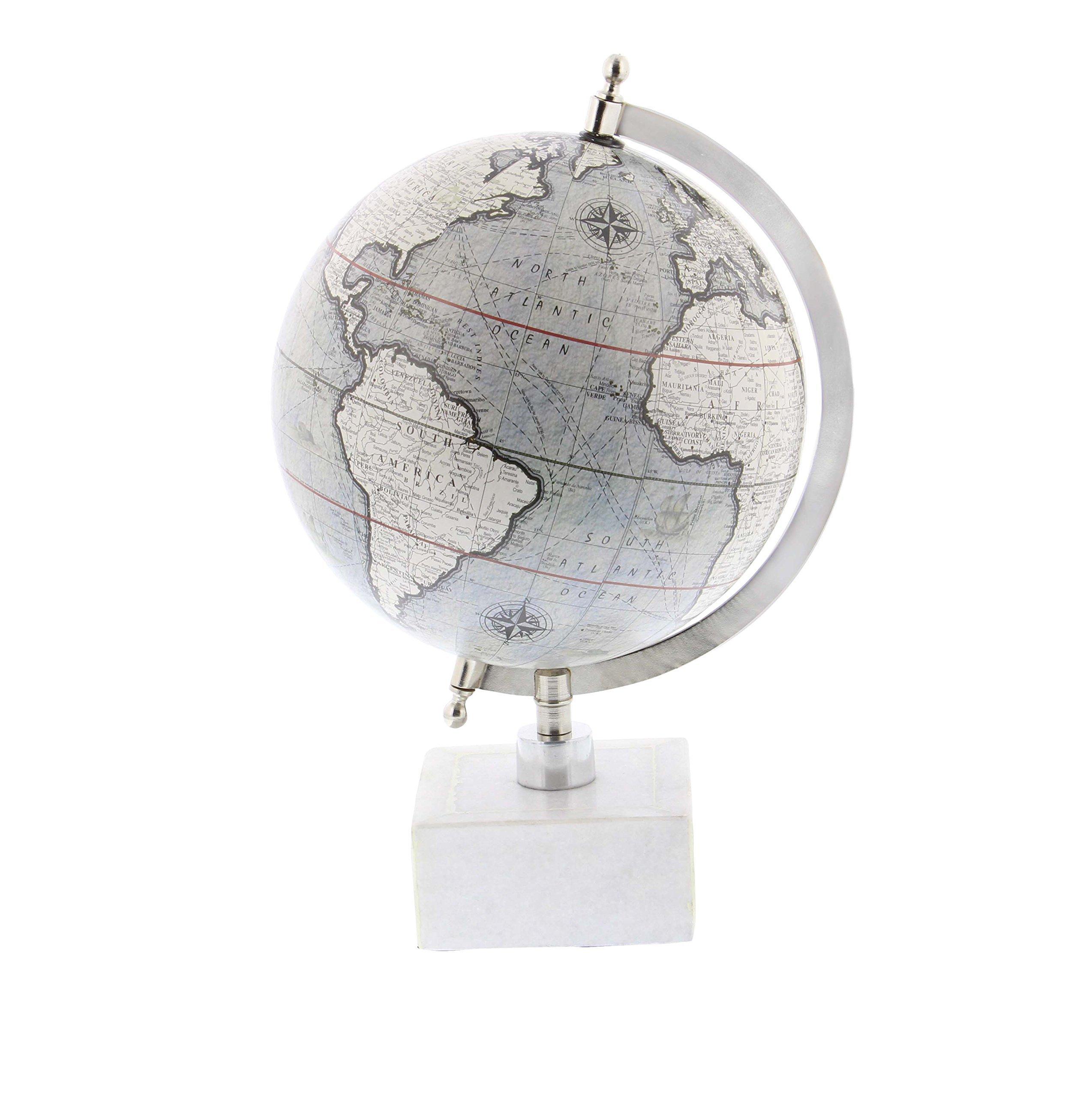 Deco 79 28546 Matte Decorative Globe with Iron Ceramic Stand, 13'' x 9'', Silver/Gray/White