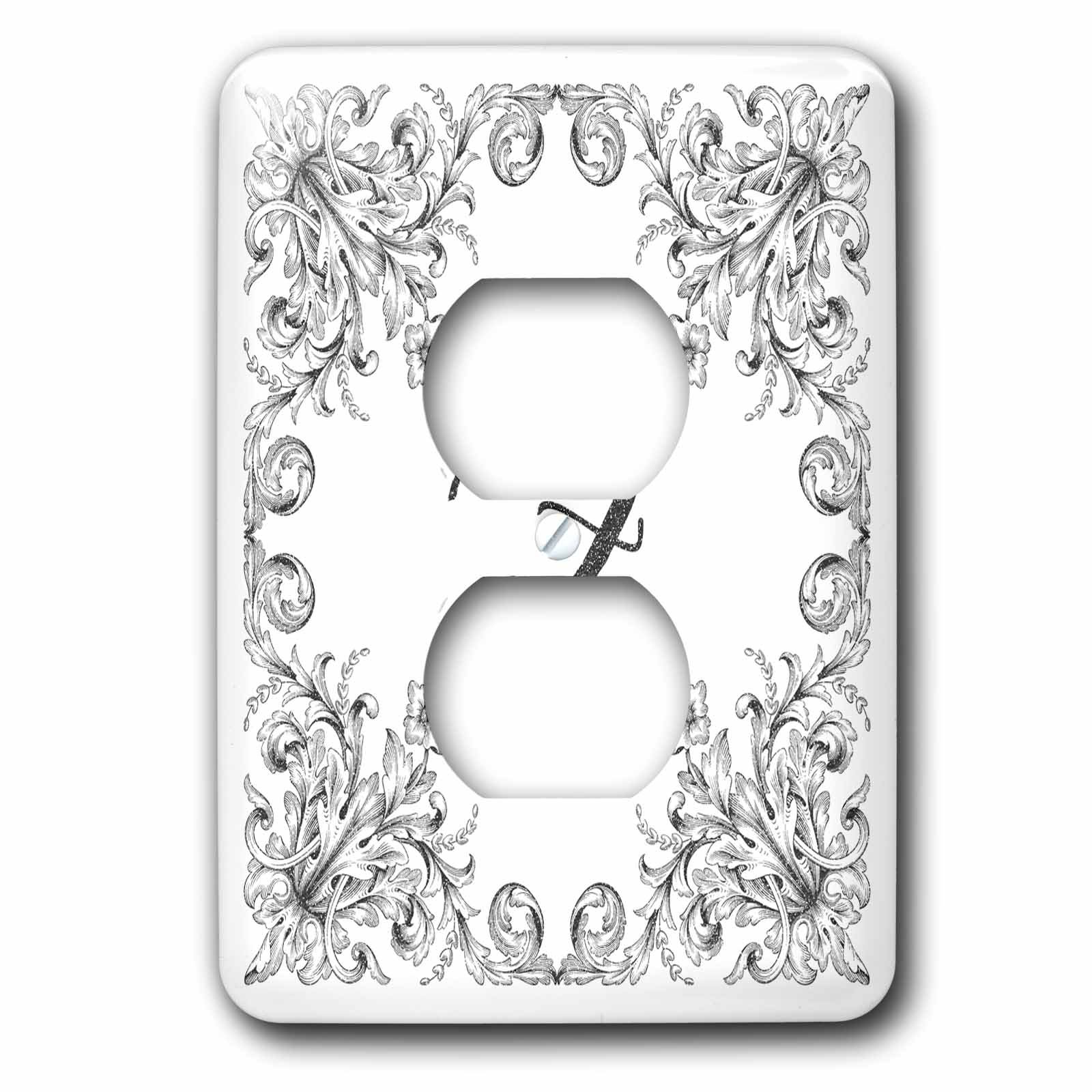3dRose Uta Naumann Personal Monogram Initials - Letter Z Personal Luxury Vintage Glitter Monogram-Personalized Initial - Light Switch Covers - 2 plug outlet cover (lsp_275326_6)