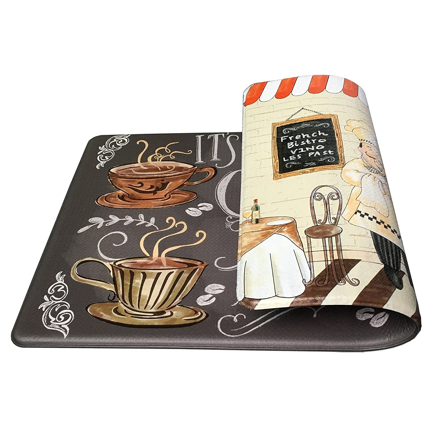 "Art3d Premium Double-Sided Anti-Fatigue Chef Rug, Anti-Fatigue Comfort Mat. Multi-Purpose Decorative Standing Mat for the Kitchen, Bathroom, Laundry Room or Office, 18"" X 30"""