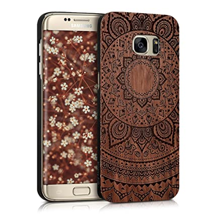 kwmobile Protective case for Samsung Galaxy S7 edge with cork cover and  pockets – hardcase in dark brown