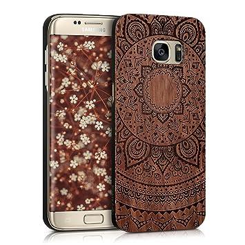 kwmobile Funda para Samsung Galaxy S7 Edge - Carcasa de [Madera] - Case Trasero Protector [Duro] con diseño de Sol hindú