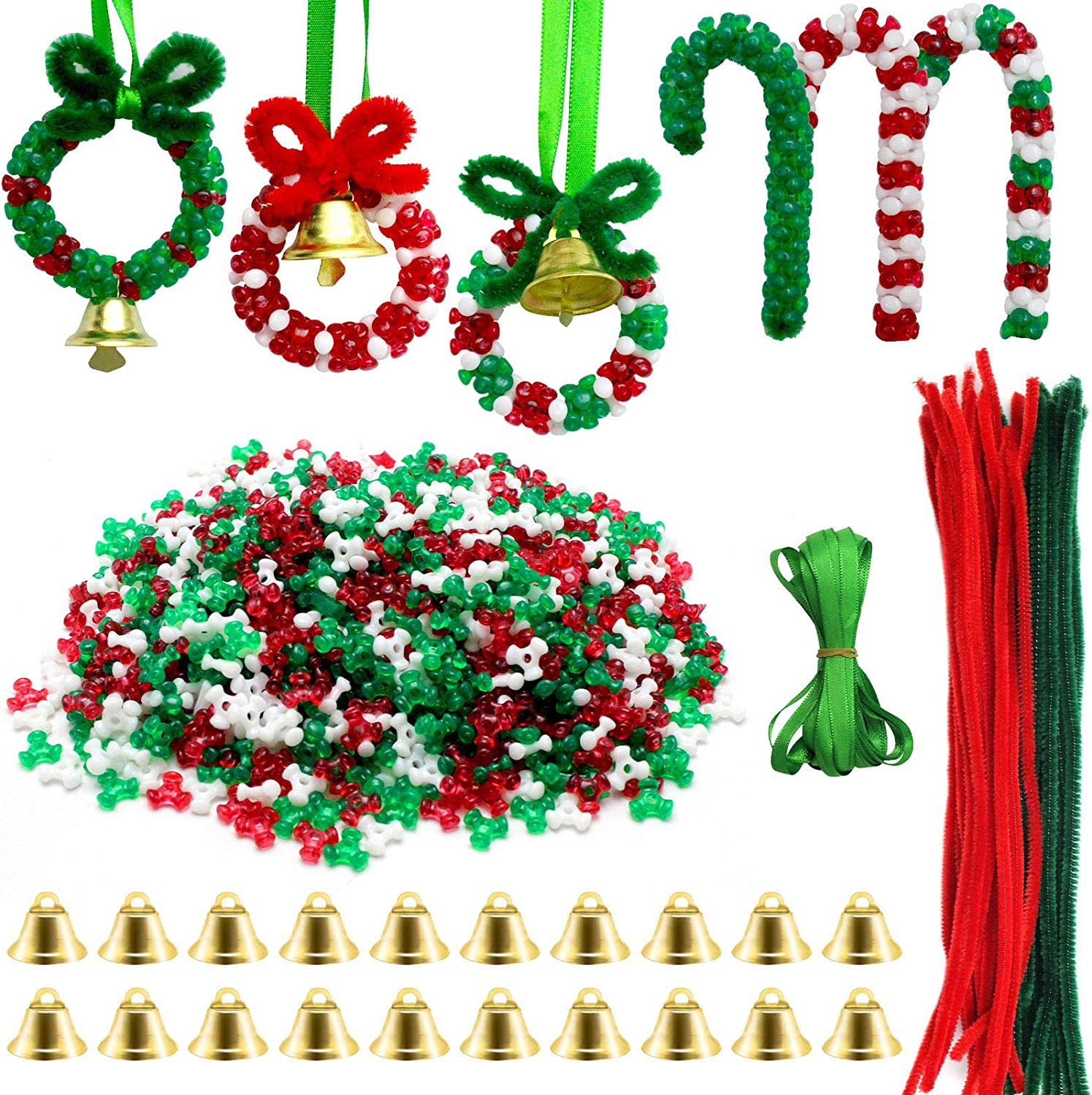 1570 PCS Christmas Beaded Ornament Kit Christmas Tri-Shaped Beads Plastic Tri Beads with Pipe Cleaners Xmas Party Craft Wreath Candy Cane for Christmas Tree Hanging