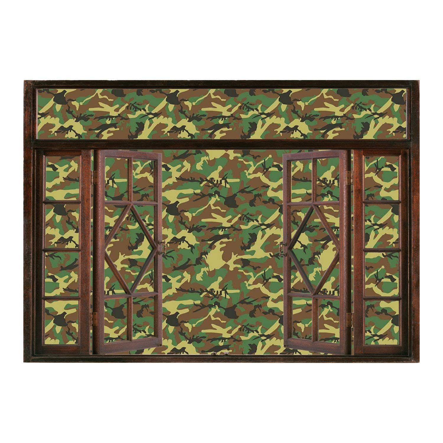 SCOCICI Creative Window View Home Decor/Wall Décor Camo,Woodland Camouflage  Pattern Abstract Army Force Hiding In Jungle,Dark Green Light Green  Brown/Wall ...
