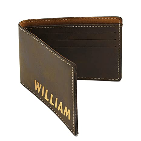 e84bdedb7699 Image Unavailable. Image not available for. Color  Customized Tan Leather  Bi-Fold Men s Leather Wallet - Monogrammed ...