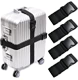 Darller 4 PCS Luggage Straps Suitcase Belts Adjustable Packing Straps Travel Accessories, Black