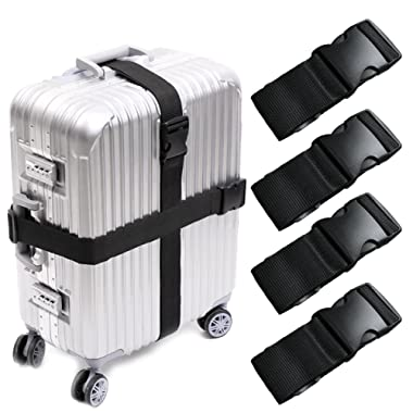 Darller 4 PCS Luggage Straps Suitcase Belts Travel Accessories Bag Straps, Black, One Size