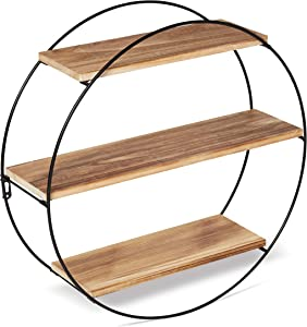 Modern Round Floating Shelf - Wall Decor - Black Metal Frame - Farmhouse - Bathroom Accent - Knick Knacks, Toys, Books - Geometric Shelving - Living Room, Bedroom - Wooden Planks