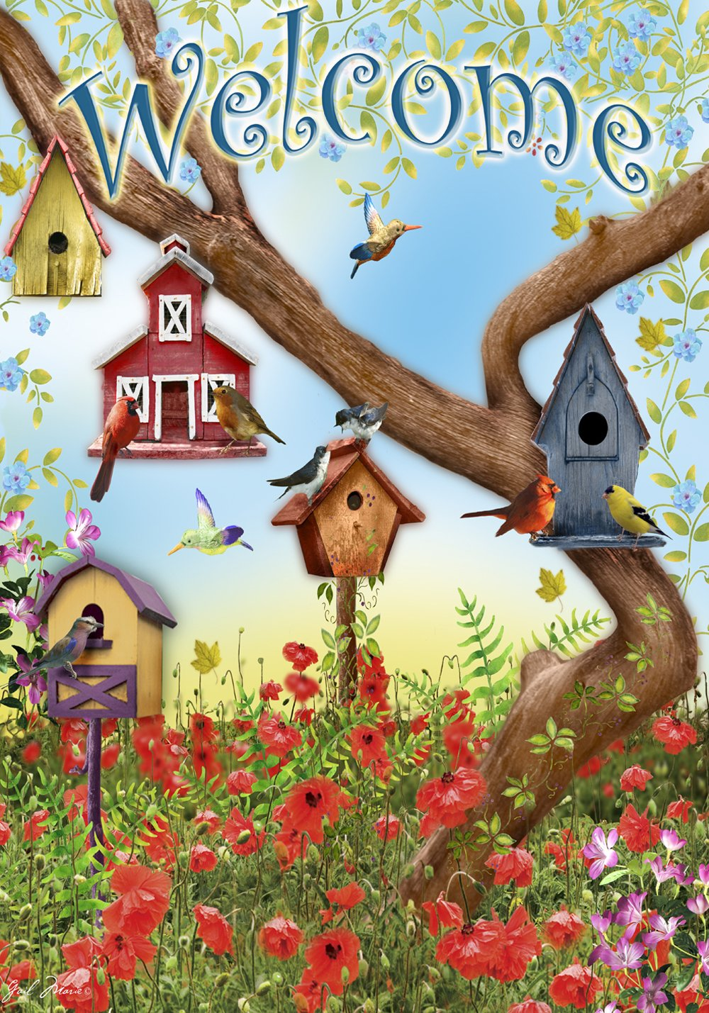 Toland Poppies and Birdhouses Decorative Welcome Flower Spring Summer USA-Produced House Flag