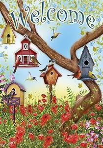 Toland Home Garden Poppies & Birdhouses 28 x 40 Inch Decorative Welcome Spring Summer Bird House Flag