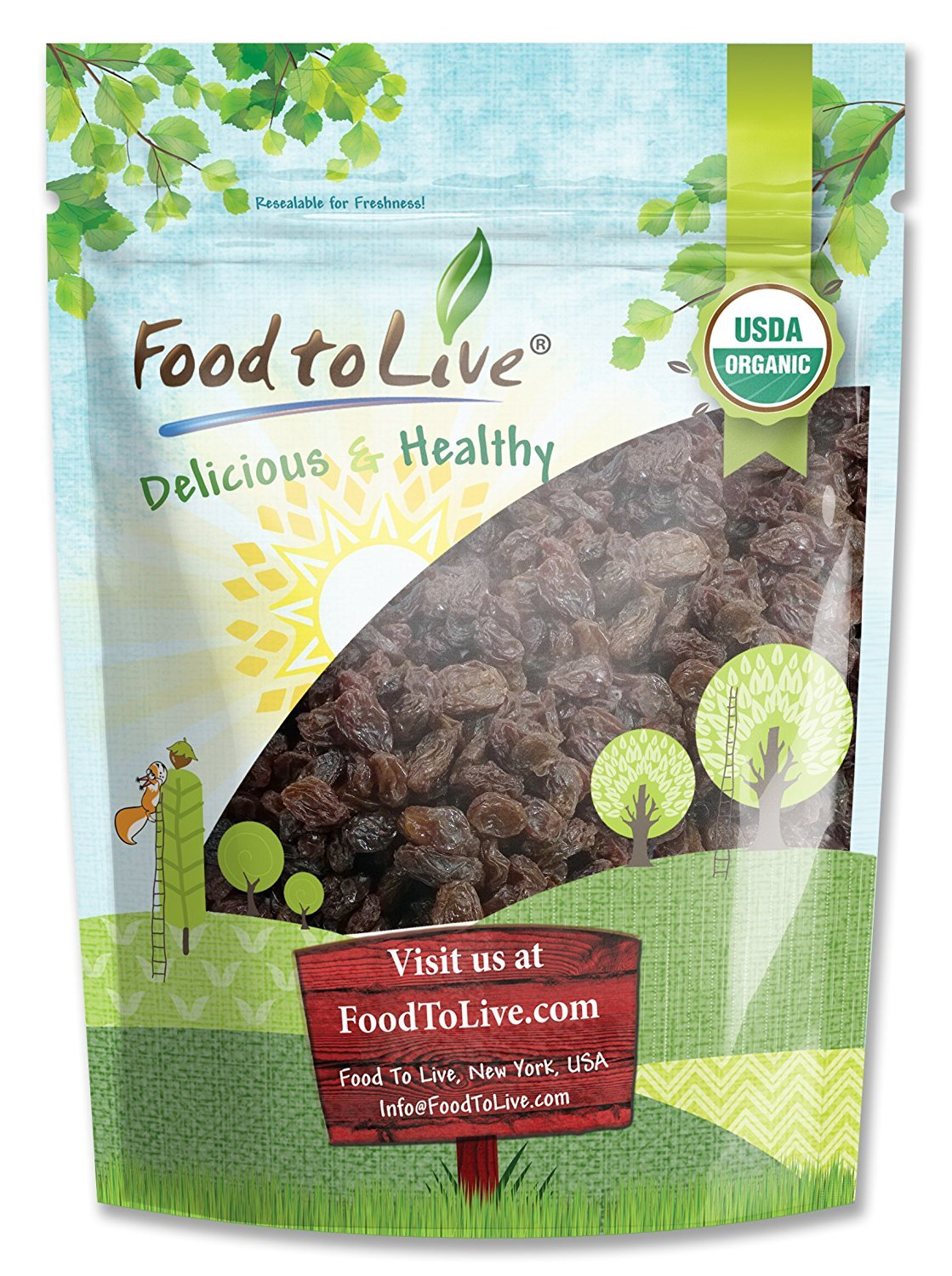 Organic California Thompson Seedless Raisins by Food To Live (Sun-Dried, Non-GMO, Kosher, Unsulphured, Bulk, Lightly Coated with Organic Sunflower Oil) - 8 Ounces by Food To Live