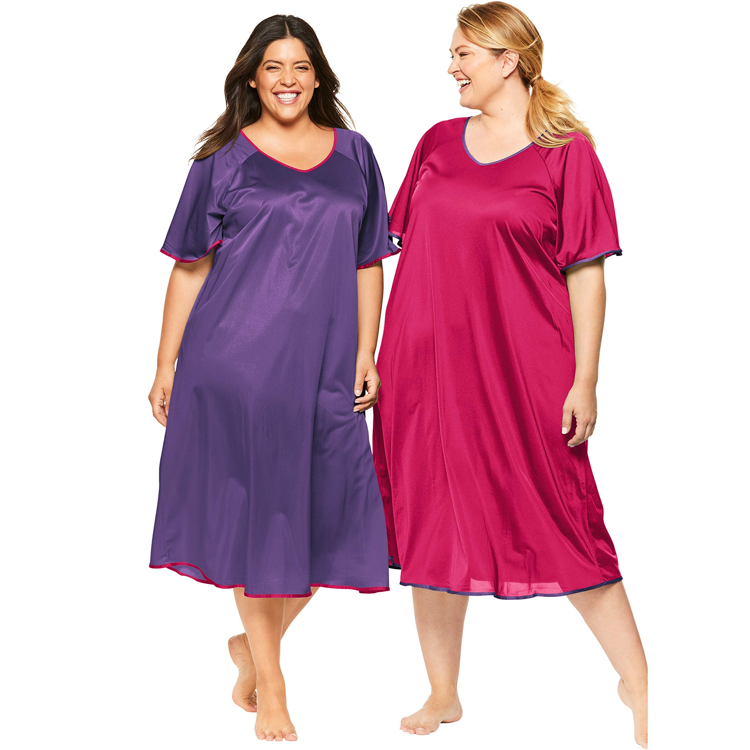Only Necessities Women's Plus Size 2-Pack Short Silky Gown - Rich Violet Pink Burst, 6X by Only Necessities