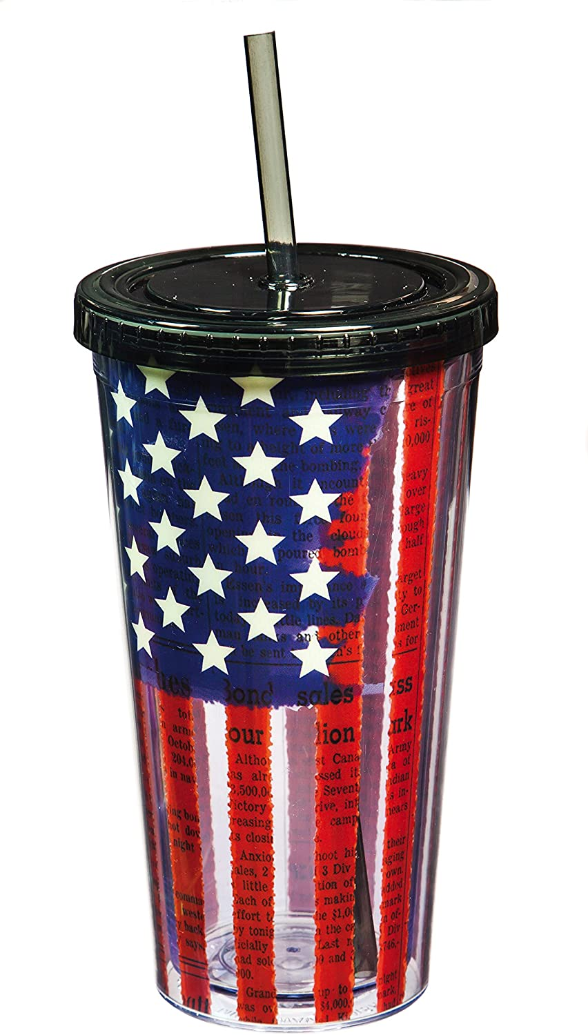 Cypress Home Land of Liberty XL Insulated Tumbler with Straw, 20 ounces