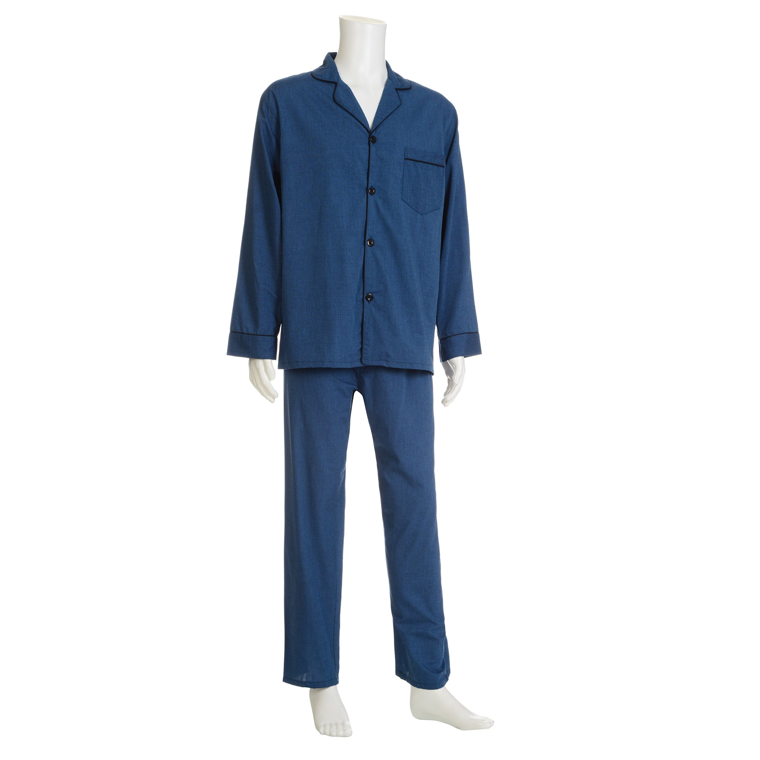 Hanes Big Men's Broadcloth Pajama Set, Navy 4X-Large