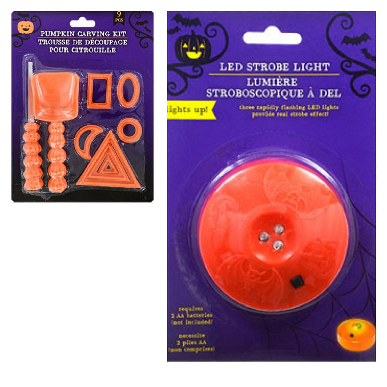 Pumpkin Carving Kit 9 Piece With LED Pumpkin Strobe Light B075CCWZLW