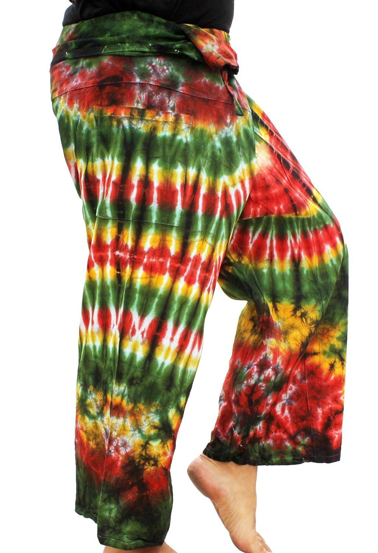 RaanPahMuang Thick Muang Cotton Thai Fishermans Pants Vibrant Tiedyed Tie Dye B074PPV12L Large|Green Yellow Amazon Fire Green Yellow Amazon Fire Large